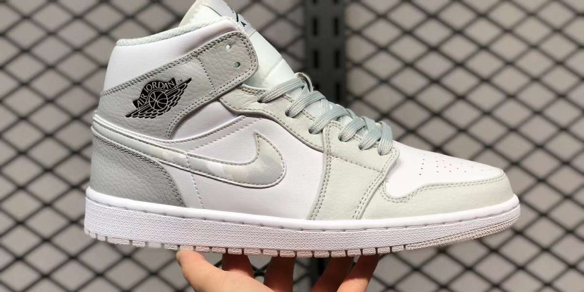 "High Quality Air Jordan 1 Mid ""Grey Camo"" Sale Online DC9035-100"